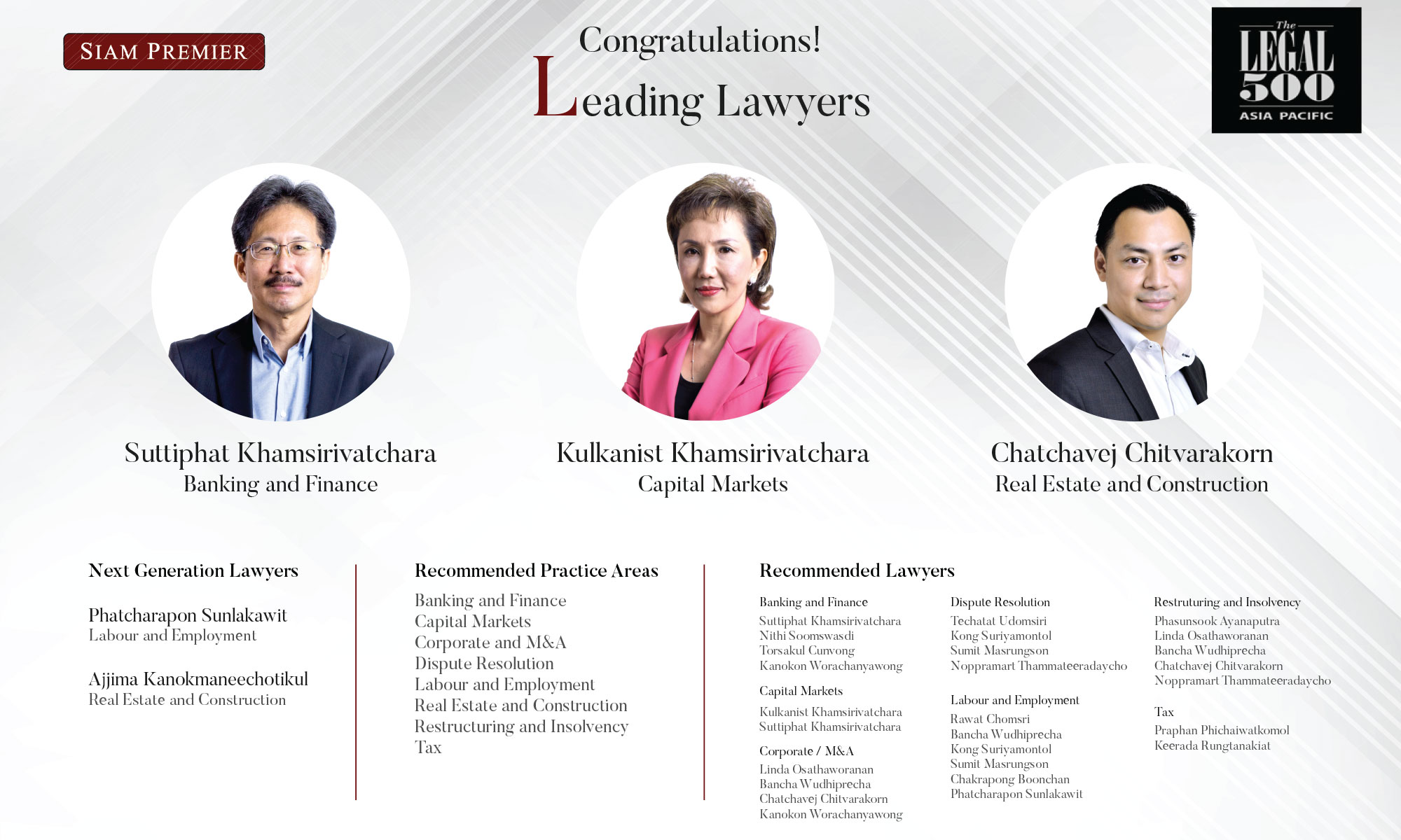 Congratulations Leading Lawyers in The Legal 500